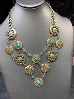 "Vintage Pale turquoise  Lotus Flower gold bib  Rhinestone statement necklace 18"""