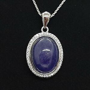 LARGE 11.40ct Tanzanite & Diamond Cut White Sapphire 925 Sterling Silver Pendant