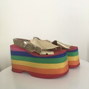 "Rainbow Jeffrey Campbell ""Starlight"" Platform Sandals"