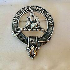 Vintage Scottish Clan MacNeil VINCERE VEL MORI Brooch Pin Rare HTF...