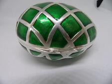 Rare Vintage Signed Gumps Silver Enamel Easter Egg Trinket Box