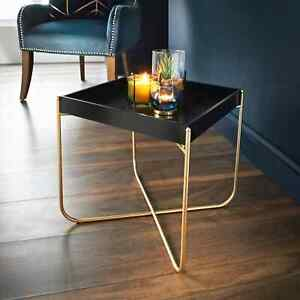 Black Melrose Tray Table Removeable Tray With Gold Finish Legs Coffe side table