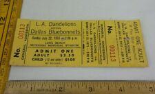 Los Angeles Dandelions v Dallas Bluebonnets Womens pro football 1973 ticket RARE