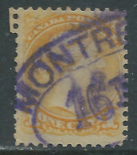 Canada #35(36) 1870 1 cent yellow QUEEN VICTORIA MONTREAL PARCEL POST Canacel