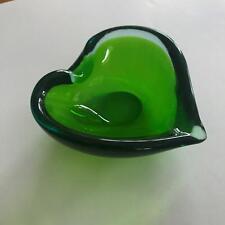 "4"" Vintage Small Green Art Glass Leaf Shape Molded Bowl"