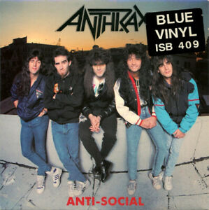 Anthrax, Anti-Social, NEW/MINT Original UK BLUE vinyl 7 inch single