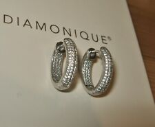 DIAMONIQUE ENCRUSTED SNUGGIE HOOP PIERCED EARRINGS STERLING SILVER HOOPS NEW QVC