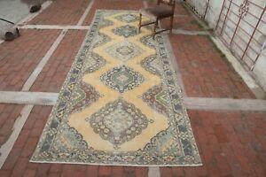 YELLOW Vintage Hallway Runner 4'6x12'5 Turkey Oushak Wool Handwoven Floral Rug