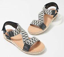 Frye and Co. Women's Kole Asymmetrical Sandal Espadrille Wedge Black White Sz 8M