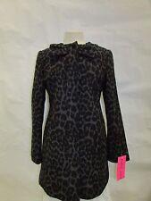Betsey Johnson Coat Small Collarless Ocelot Leopard Print Wool Jacket X194B