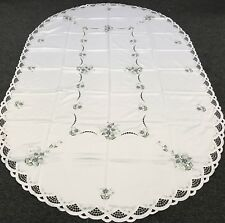 "72x108"" Oval Gray Flower Embroidered Satin Fabric Tablecloth 12 Napkins"