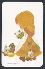 #915.028 Blank Back Swap Cards -MINT- Girl in patchwork dress with kittens