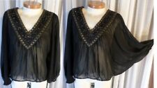 XS Black Blouse Top Flared Sleeves Semi-Sheer Beads Dolman Lady Woman 0 2 5148