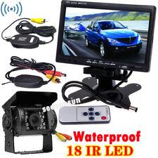 """Wireless 18LEDs IR Rear View Night Vision Backup Camera + 7"""" Car TFT LCD Monitor"""
