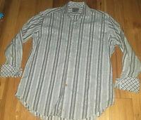 Mens Thomas Dean Long Sleeve Button Up Flip Cuff Shirt Size Large L Striped