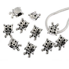 ladybug tibetan Silver European charms alloy beads fit Bracelets 10pcs 15*10mm