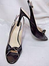 Banana Republic Womens Size 9 M Black Leather Knot Peeptoe Slingback Heels #JS