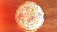 """Halcyon Days enameled """"who opens this must have a kiss"""" trinket box birds,floral"""