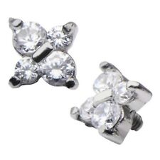 Stainless Steel Clear CZ Gem Flower Dermal Anchor Top Head