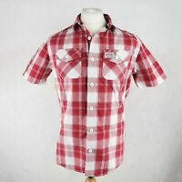 Mens SUPERDRY Washbasket check shirt Short Sleeve Size LARGE Red White Button-up