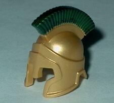 HEADGEAR Lego Roman-Spartan Helmet Metallic Gold Green Plume custom Genuine Lego