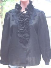 Lady women top button up long sleeve shirt Black Satin never worn size M/L