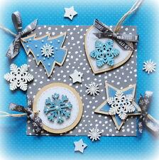 "4x Handmade Christmas Decorations (2 ¾ inch, 7cm) Wood ""Frozen Series"""