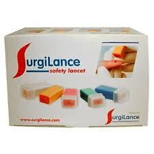 SURGILANCE LANCETS STERILE 100 PER BOX  ORANGE 2.2MM DEPTH, NEW