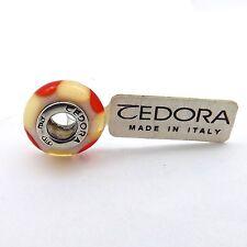 TEDORA STERLING SILVER ORANGE CREAM WHITE MURANO GLASS BEAD CHARM NEW