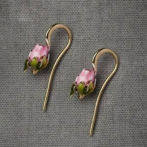 Trendy Women Sweet Enamel Tulip Flower Drop/Dangle Gold Hook Earrings Jewellery