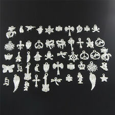 Wholesale Retro Silver 50pcs Bulk Lots Mix Charm Pendants Jewelry DIY Hot gt