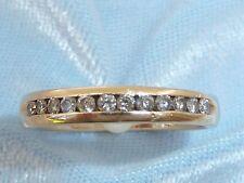 14K Yellow Gold Band, 12, 1.8mm Diamonds, TCW 1/3 carat, Size 7.25