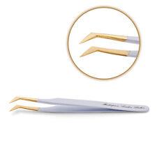 Volume L-shaped TWEEZER Eyelash Extension Stainless Steel Metal Curved + Case