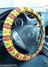Handmade Steering Wheel Cover Aztec Southwest Yellow and Burgundy Gods Eye