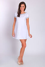 Womens Plain Shift Dress 100% Cotton Short Sleeve Party Casual Size 8-12 FT2043S