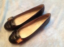 Talbots brown lizard look leather size 7AA flat shoes with brass decoration