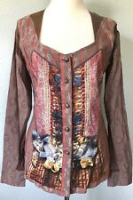 **L* Save The Queen Cotton Silk Top Tee T-Shirt Tunic Dress Blouse made in ITALY