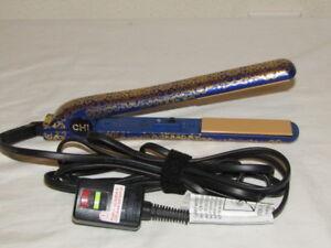 "CHI FAROUK 1"" Victorian Gold Ceramic Hairstyling Dual Voltage Flat Iron GF8102"