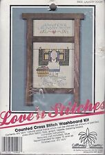 Love'n Stitches Wood and Counted Cross Stitch Kit Laundry Room Washboard New