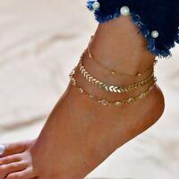 UK Women Ankle Bracelet 925 Plated Silver Anklet Foot Chain Boho Beach Beads Set