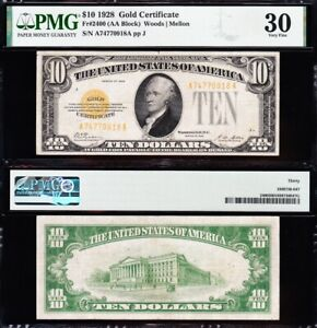 AWESOME Crisp Choice VF++ 1928 $10 GOLD CERTIFICATE! PMG 30! FREE SHIP! 70918A