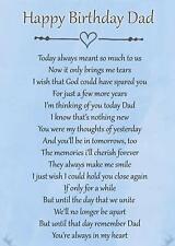 Happy Birthday Dad Memorial Bereavement Graveside Poem Card & Ground Stake F71