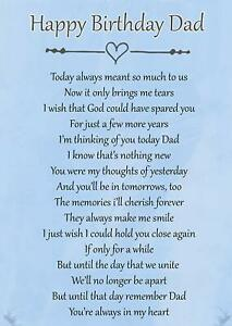 Happy Birthday Dad Memorial Bereavement Graveside Poem Card & Ground Stake F71