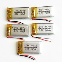 5 pcs 160mAh 401730 Lipo Polymer Li Battery 3.7V for MP3 DVD PSP GPS bluetooth