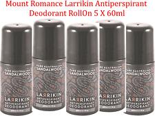 5 x 60ml Mount Romance Larrikin Antiperspirant Deodorant Roll On ( Sandalwood )