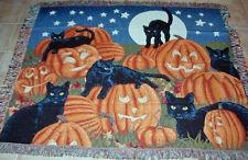 Halloween Fun Pumpkins Black Cats by Full Moon Sky Tapestry Afghan Throw