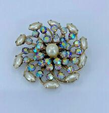 Vintage Pearl Aurora Borealis Flower Rhinestone Brroch Pin Gold Brooch