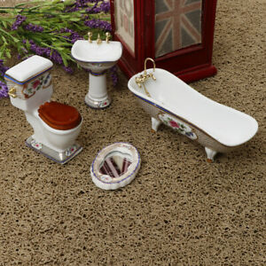 4pcs 1/12 Dollhouse Miniature Bathroom Furniture Kits Bathtub Toilet Set #3