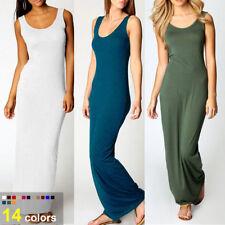 Womens Sexy Long Tank Top Dress Maxi Beach Wear Ball Gown Party Sundress WA