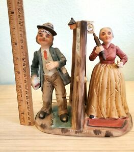 Cucci Porcelain of Old Lady & Man Signed Cucci  EUC